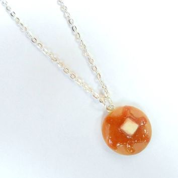 Pancake and Syrup Necklace, Food Jewelry, Cute :D