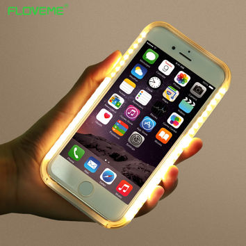 FLOVEME LED Flash Lighting Selfie Phone Case For Iphone 6 6S 7 Plus Selfie Hard PC Lights Luminous Cover For Samsung S6 S7 Edge