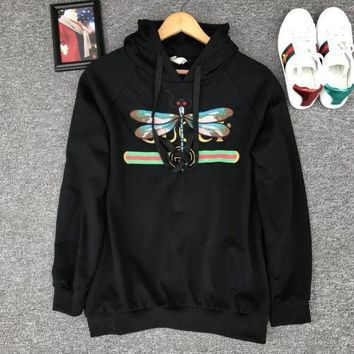 "Kalete ""Gucci"" Women Casual Fashion Letter Dragonfly Pattern Embroidery Long Sleeve Hooded Sweater Tops"