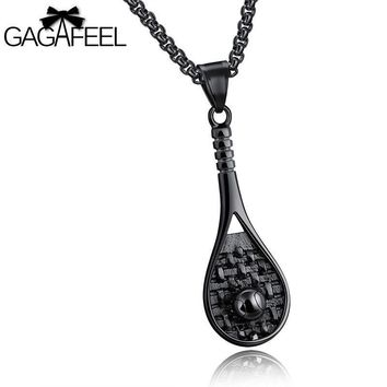 GAGAFEEL Men  Pendant Necklace Three Colors Stainless Steel Tennis Racket Sports Style Europe  Link Chain Jewelry Birthday Gift