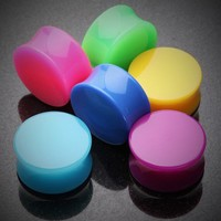 Neon Colored UV Acrylic Double Flared Ear Gauge Plug (Pair Price Shown)