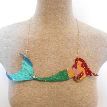 Full body Mermaid Necklace, mermaid jewelry, mermaid, mermaid gift, fantasy jewelry, mermaid accessories, polymer clay necklace, Swarovski