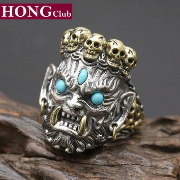 HONGCLUB 2017 New 925 Sterling Silver Ring Men Jewelry Bless Lucky Buddha Blue turquoise Ring Adjustable Gift Fine Jewelry R9