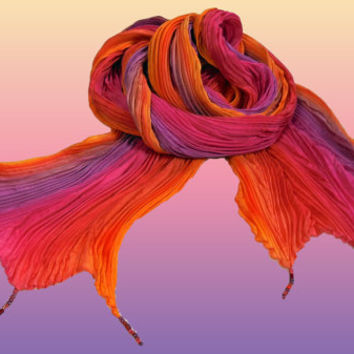 "Arashi Shibori Hand Pleated Silk Evening Shawl, Pink, Orange, Lavender, Beaded Fringe Accents, Formal Evening Wrap 22""x90"" Ready To Ship"