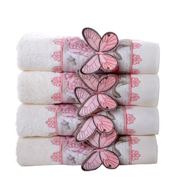 Minteks La Row Collection Turkish Decorative Hand Towel Sets   Embroidered Bufferfly Towels