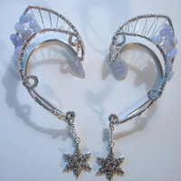 ICE FAIRY  Pair of Elf Ear Cuffs with Silver Snowflake Charms, Blue Lace Agate and Silver, Fairy, Elven