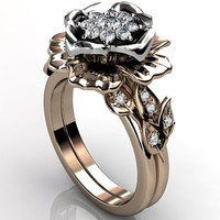 14k two tone rose and white gold diamond unusual unique floral engagement ring, wedding ring, engagement set ER-1064-8