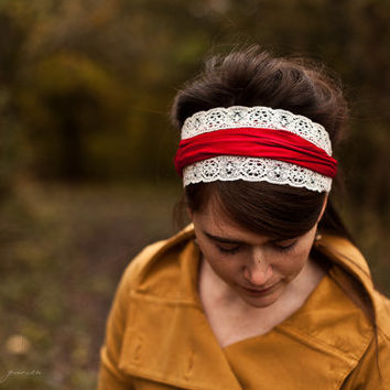 Garlands of Grace Holly Berry Vintage Stretch Headband wrap headcovering