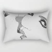 Dirty girls love to play some Naughty games - sexy lesbians kissing, biting lips, hot erotic artwork Rectangular Pillow by Casemiro Arts - Peter Reiss