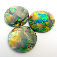 3 Green Fire Opal Large Resin Round Cabochon - 20mm Sparkly Rainbow 3D Layered Interior, Flat Backed Domed Rhinestone - Jewelry Supply