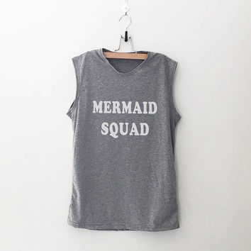 Mermaid squad shirt workout womens graphic tank For women muscle tee shirts for mom gift womens Printed shirts