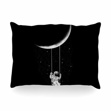 "Digital Carbine ""Moon Swing"" Black Fantasy Illustration Oblong Pillow"