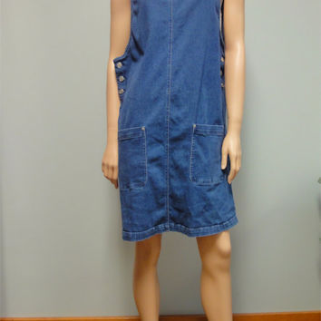 Vintage 80s 90s Denim Overalls Jumper, Oversized Grunge Era Dress Size Large