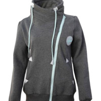 Diagonal Zip Sweatshirt - Gray & Mint - (1 LEFT)