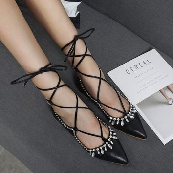 Black Point Toe Rhinestone Lace-up Casual Flat Shoes