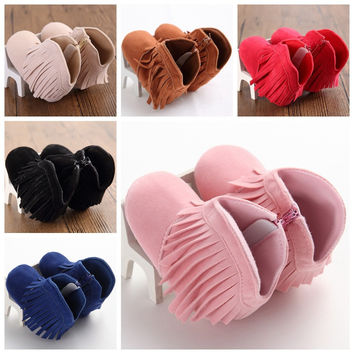 Autumn Winter  Newborn Baby Girl Boy Kid Fringe Shoes Infant Toddler Soft Soled Anti-slip Super Warm Boots Free Shipping