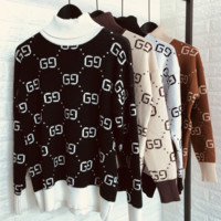Gucci Fashion Casual Women Long Sleeve Double G Pullover Sweater G