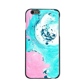 DistinctInk® Hard Plastic Snap-On Case for Apple iPhone - Blue Pink White Marble