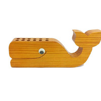 Wooden Whale Pen Pencil Crayon Holder Vintage Desk Accessory Kids Art Play Room Decor Writing Storage Googly Eyes Handmade Carved Nautical
