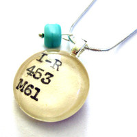 Glass Cube Teal or Ocean Blue Dewey Decimal Card Catalog Sterling Silver Chain Necklace