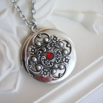 Heart, Locket, Filigree Locket, Silver Heart Locket, Mother's Day Gifts, Heart Jewelry, Antique Locket, Red Crystal Heart, Filigree Locket,