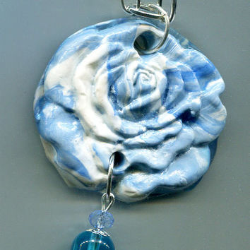 clay rose pendant necklace, blue polymer clay flower charm, chain necklace jewelry handmade #jewls5020