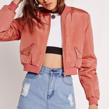 Missguided - Cropped Bomber Jacket Pink