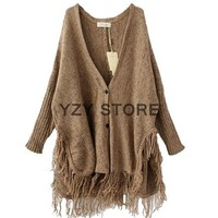 Women Button Knit Fringed Tassels Batwing Cardigan Sweater Cape Oversized NL06