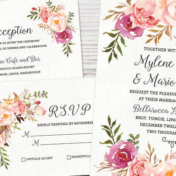 Mylene Suite - Printable Wedding Invitation, Watercolor, Floral, Simple, Calligraphy, Save the Date