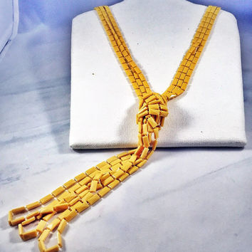 Vintage butterscotch necklace, mustard yellow molded plastic super long triple-strand vintage beads 1960s Boho hippy necklace flapper style