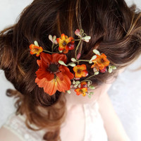 fall wedding, hair clip, autumn wedding, fall flower, hair accessory - WILDWOOD BRAMBLE - burnt orange flower