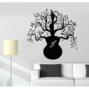 Vinyl Wall Decal Music Tree Guitar Notes Branches Nature Stickers Mural (g2609)