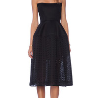 NICHOLAS Embroidered Mesh Ball Dress in Black