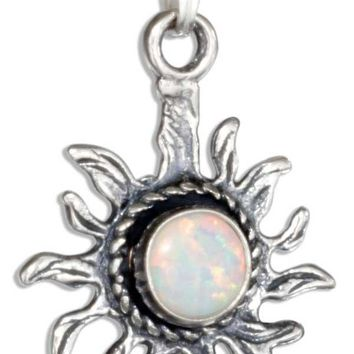 STERLING SILVER ANTIQUED SYNTHETIC WHITE OPAL SUN PENDANT