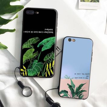 aesthetic plant leaf Quotes coque Soft Silicone Phone Case Cover Shell For Apple iPhone 5 5s Se 6 6s 7 8 Plus X XR XS MAX