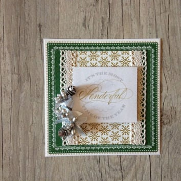 Christmas card - new year greeting card post card handmade - white gold green rustic emerald - holiday greetings 2015 - europeanstreetteam