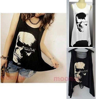 Fashion Women Sexy Punk Skull Asymmetrical Hem Hollow Back Sleeveless T-Shirt Tops Blouse Vest = 1956767940