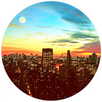 Sunset City Circle Wall Decal