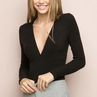Brandy Melville Slim Knit Cotton Long Sleeve Tops [9698943439]