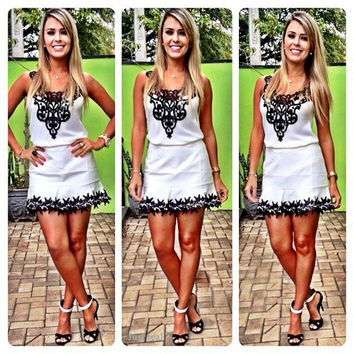 white dress with black cute lace vestidos de fiesta = 1901140292