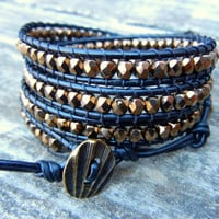 Beaded Leather 4 Wrap Bracelet with Metallic Bronze or Silver Czech Glass Beads on Black Leather