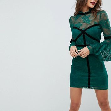ASOS High Neck Lace Bodycon Mini Dress With Velvet Tape at asos.com