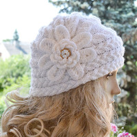 Knitted cap in flower cap / hat lovely warm autumn accessories women clothing Knit Hat Womens lovely cobalt sapphire