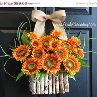 WREATHS ON SALE fall front door wreaths sunflowers wreaths home decor orange front door wreaths gift ideas outdoor wreaths