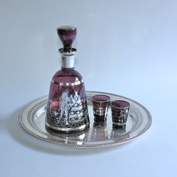 Amethyst Glass Decanter with Silver Overlay