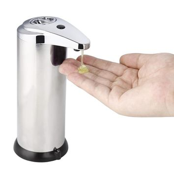 2018 New 280ML Stainless Steel IR Sensor Touchless Automatic Liquid Soap Dispenser for Kitchen Bathroom Home Black