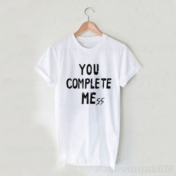 You Complete Me Mess Luke Hemming 5SOS Black White Unisex T Shirt