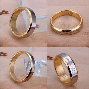 Fashion Ring Womens Mens Jewelery Forever Love 18K Gold Titanium Couple Rings Jewelery Gift  [8833402764]