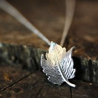 Tiny Leaf Pendant Necklace Womens Forest Theme Jewelry gift idea Gold or Silver