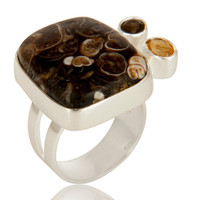Citrine, Smoky Quartz And Turritella Agate Cocktail Ring In Sterling Silver